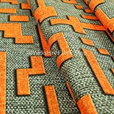 Yorkshire Fabric Shop Grau-Orange-Muster, mit Velours Stoff