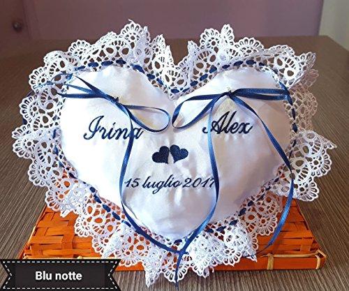Cuscino Portafedi Bianco E Blu.Cuscinetto Portafedi Matrimonio Artinscena