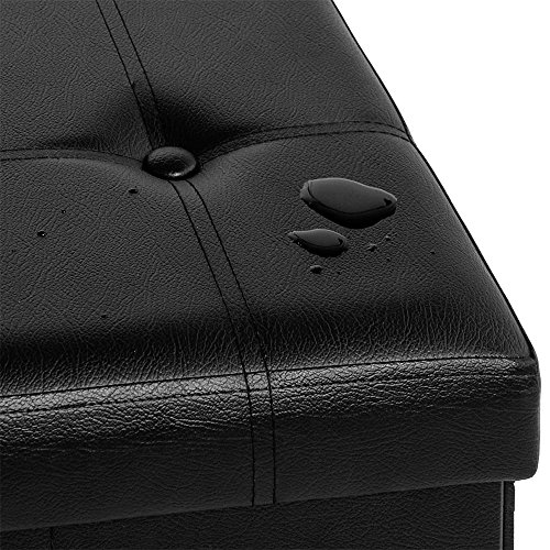 Sitzbank mit großem Stauraum faltbar platzsparend stabil belastbar Sitzhocker Aufbewahrungsbox Fußbank Sitzwürfel Hocker Kunstleder 3-Sitzer 80x40x40cm schwarz -