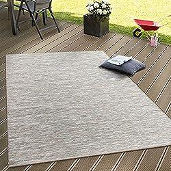 Paco Home In- & Outdoor Flachgewebe Teppich Terrassen Teppiche Mit Farbverlauf In Beige, Grösse:80x200 cm