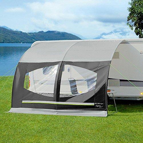 Preisvergleich Produktbild Berger Sonnenvordach Sigma Deluxe grau,  schwarz Sichtschutz für Caravan und Wohnwagen L 335 x B 220 cm Anbauhöhe 240-255 cm