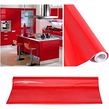 kinlo selbstklebende folie k che rot 2 stk 61x500cm aus hochwertigem pvc aufkleber. Black Bedroom Furniture Sets. Home Design Ideas