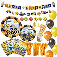 ‏‪Construction Birthday Party Supplies for Boys, Complete Dump Truck Construction Party Supplies with Birthday Plates, Utensils, Cups, Napkins, and Construction Birthday Decorations for Boys‬‏