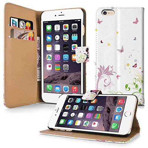 Apple iPhone 5 / 5s Handyhülle inklusive Displayfolie & Touchstiftliegende Katze Fee+Schmetterlinge+TouchPen