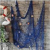 Dngdom Dekoration Fischnetz mit Muscheln Maritime Deko150cm*200cm (BU)