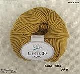 50 gr. Cora Fb. 504 ocker, Brandneu, Strickwolle, Merinowolle, Online, Linie 20