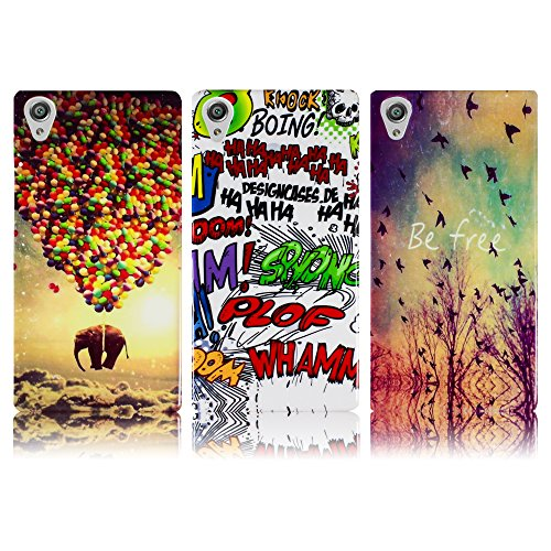 Sony Xperia X / Xperia X Dual 3x SET BE FREE + COMIC + FLIEGENDER ELEFANT Silikon Schutz-Hülle weiche Tasche Cover Case Bumper Etui Flip smartphone handy backcover Schutzhülle Handyhülle thematys®