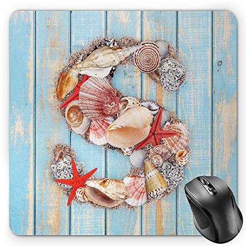 BGLKCS Letter S Mauspads Mouse Pad, Various Seashells Scallops Starfishes on Wooden Planks Nautical, Standard Size Rectangle Non-Slip Rubber Mousepad, Pale Blue Ivory Dark Coral Ivory Scallop