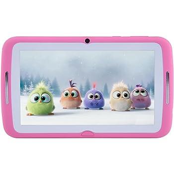 Tablet per bambini 7 pollici, Android 7.1 OS, iWawa Pre-Installed, Quad Core, HD Touch Screen, 1 GB RAM, 8 GB di memoria, Wifi, Bluetooth, doppia fotocamera con custodia in silicone per bambini(rosa)