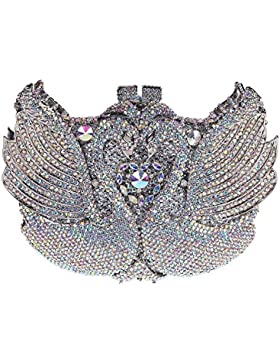 Damen Clutch Abendtasche Handtasche Geldbörse Schick Strass Kristall Schwan Lang Tasche mit wechselbare Trageketten...