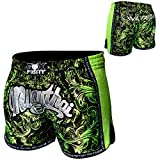 FOX-FIGHT Thai Short Warrior Fight Hosen Shorts Muay Thai Kickboxen UFC Kampfsport Boxen Training MMA S Schwarz/Grün
