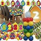 Folat/Carpeta 63-teiliges Deko-Set für den * 2. Geburtstag * // mit Tischdecke, Wimpelkette, Kerzen und Deko // Dekoration Kinder Kindergeburtstag zweiter