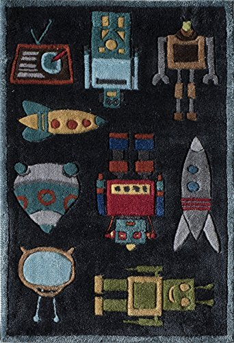 Momeni Rugs LMOJULMJ-1STB2030 Lil' Mo Whimsy Collection, Kids Themed Hand Carved & Tufted Area Rug, 2' x 3', Robots Steel Blue by Momeni Rugs