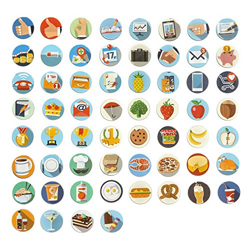 Jumbo-Set Organizer Kalender Sticker, Aufkleber, Etiketten, 120tlg., 60 runde Aufkleber + 60 dazu passende Organizer Kühlschrankmagnete