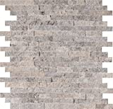M S International SMOT-SMTIL-ECLIP8MM Mesh-Mounted Mosaic Tile Eclipse Interlocking x 12 in. x 8 mm Metal Stone Wall (10 Sq. Ft./Case), Gray, Piece