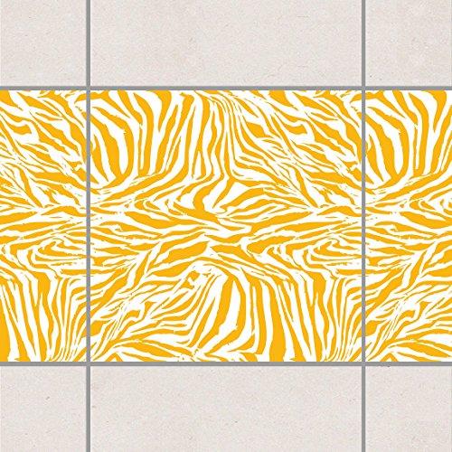 Fliesen Bordüre - Zebra Design Melon Yellow 15cm x 15cm, Setgröße:20teilig