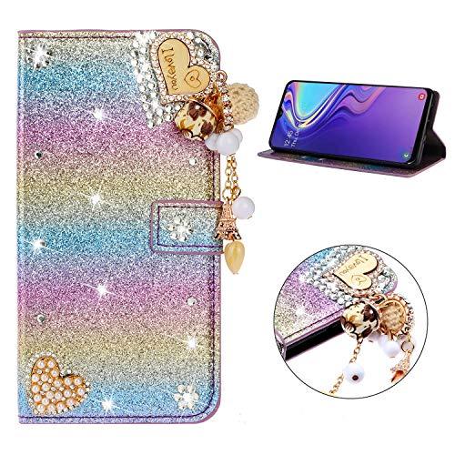 Miagon Hülle Glitzer für Samsung Galaxy A7 2018,Luxus Diamant Strass Herz PU Leder Handyhülle Ständer Funktion Schutzhülle Brieftasche Cover,Regenbogen Blau