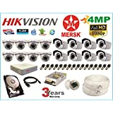 Hikvision 16 Ch Turbo HD Dvr and Mersk Full HD (4MP) CCTV Camera Kit with (All Required Accessories) Note : No Installation Service