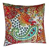 RASTOGI Kunsthandwerk Kissenbezug Blatt Designs mit Blumen Deko Colorful Baumwolle, quadratisch, dekorativer Überwurf-Kissenbezug, Textil, rot, 40 x 40 cm