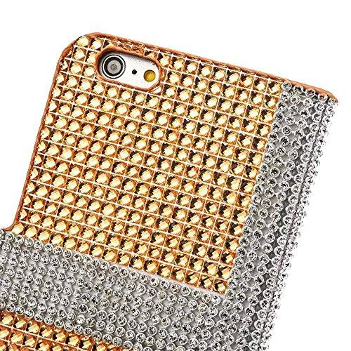 """iPhone 6sPlus Ledertasche, Kristall Sparkly Diamant CLTPY iPhone 6Plus Folio Book Stil Luxus Schlanke Hybrid-Kreditkartentasche Mappenbeutel Schale Case, 3 in 1 Ganzkörper-Fall für 5.5"""" Apple iPhone 6 Gold C"""