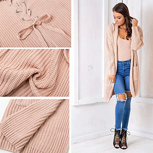 CoCo Fashion Damen Offener Langarm Strickmantel Lace Up Lose Hooded Strick Pullover Strickjacke Cardigan Mantel Khaki
