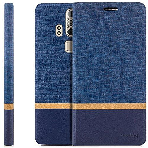 zanasta Tasche kompatibel mit ZTE Axon Elite Hülle Flip Case Schutzhülle Handytasche mit Kartenfach Blau