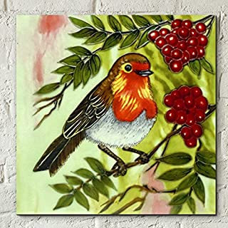 Red Berry Robin by Judith Yates 8x8 Decorative Ceramic Tile Picture Art Plaque Bird Gift Decor