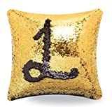 LilyPin Stylish Sequin Mermaid Throw Pillow Cover with Magical Color Changing Reversible Paulette Design Decor Cushion Pillowcase Set of 1(16X16) - Golden & Black