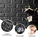 3pcs KINLO 77 x 70 CM Kinderzimmer Wandpaneele Steinoptik Anti-Kollision Wandaufkleber DIY selbstklebend Wandtattoo Wandsticker PE Schaum Panel weiche Ziegelstein aus PVC für Wohnzimmer (Schwarz)