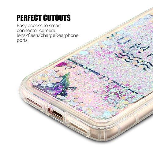 Cover iPhone 7 Custodia iPhone 7 Liquido Anfire Trasparente Rigida Duro Plastica Gel Case per Apple iPhone 7 (4.7 Pollici) Morbida Silicone Sabbie Mobili Shell 3D Bling Glitter Cuore Floating Quicksan Rosa