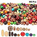 800 Pièces Ensemble de Perles en Bois, Inclure 400 Pièces Perles en Bois Imprimées...