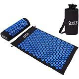ResultSport Acupressure matta och kuddset med förvaringsväska för förvaring – svart tyg med blå spik