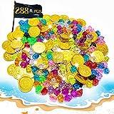 XCOZU 288 Pièces Trésor de Pirate Enfant, Pièces d'or Pirate Faux Diamant Pièces en Plastique Bijou Acrylique Trésor Pierres Precieuses Fête Chasse au Trésor Set(144 Pirate Pièces d'or+144 Gems)...
