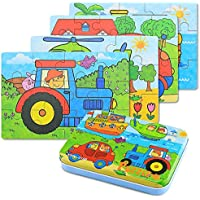 BBLIKE 4 in 1 Jigsaw Wooden Puzzles Toy in a Tin Box for Kids,56pcs Varying Degree of Difficulty Educational Tool Best Birthday Present for Boys Girls