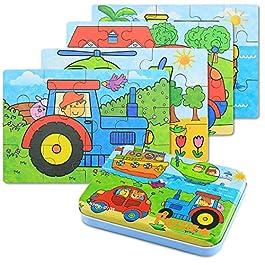 BBLIKE Jigsaw puzzle in legno giocattolo in una scatola per i bambini, confezione da 4 con variazione di difficoltà strumento di apprendimento migliore regalo di compleanno per i ragazzi Ragazze (D)