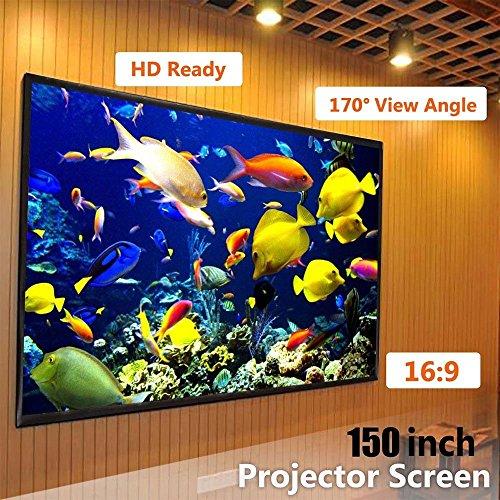 Cewaal Falten Projektor Vorhang, 16: 9 150 '' Indoor Outdoor Film Theater Film Leinwand Vorhang Projektor Matt Weiß