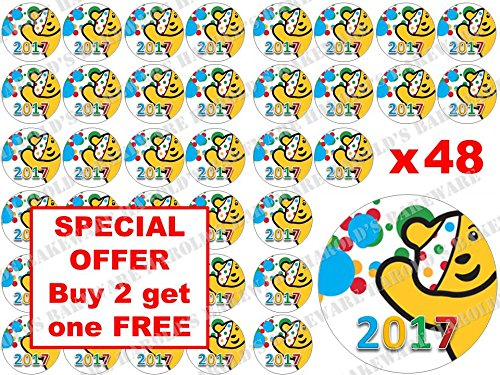 48-x-3cm-BBC-Children-in-Need-Pudsey-Bear-2017-Spots-Fairy-Muffin-Cup-Cake-Toppers-Decoration-Edible-Rice-Wafer-Paper