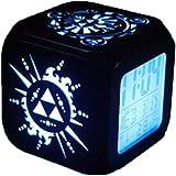 QMMCK Réveil Stéréo 3D Veilleuse LED Silencieuse Réveil électronique à Sept Couleurs Créatif De La Mode Zelda -USB Recharge