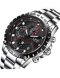 Los hombres del deporte Relojes de cuarzo resistente al agua de negocios de lujo acero inoxidable cronógrafo negro Dial reloj