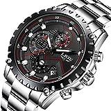 Herren Sport Quarz Uhren Luxus Business Wasserdicht Edelstahl Chronograph Schwarz Zifferblatt Armbanduhr