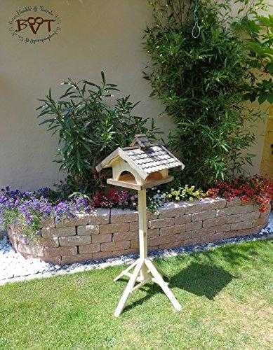 Vogelhaus, groß, BEL-X-VONI5-LOTUS-LEFA-at002 Großes wetterfestes PREMIUM Vogelhaus mit wasserabweisender LOTUS-BESCHICHTUNG VOGELFUTTERHAUS + Nistkasten 100% KOMBI MIT NISTHILFE für Vögel WETTERFEST, QUALITÄTS-SCHREINERARBEIT-aus 100% Vollholz, Holz Futterhaus für Vögel, MIT FUTTERSCHACHT Futtervorrat, Vogelfutter-Station Farbe schwarz lasiert, anthrazit Schwarzlasur / Holz natur, MIT TIEFEM WETTERSCHUTZ-DACH für trockenes Futter - 2