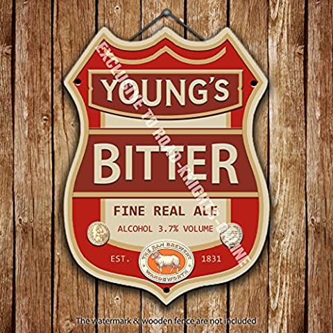 Young's Bitter Beer Advertising Bar Old Pub Drink Pump Badge Brewery Cask Keg Draught Real Ale Pint Alcohol Hops Shield Shape Metal/Steel Wall