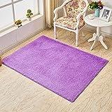 LZHDAR Rechteckiger einfacher Teppich, Plüsch-Peld-Schlafzimmer-Kinderzimmer und Zimmer-Küche leicht Clean Stain Fade Resistant,Purple,700MM×1400MM