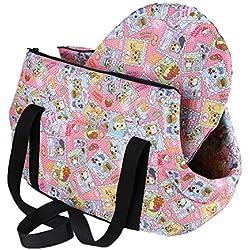 SODIAL(R) Bolsa de mano de hombro de transporte de viaje para pequenas mascotas pequeno gato pequeno perro acolchada y suave plegable y lavable, Rosa