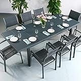 Beatrice Tisch & 8 Stühle - GRAU | Gartenmöbel-Set mit ausziehbarem 240cm Tisch