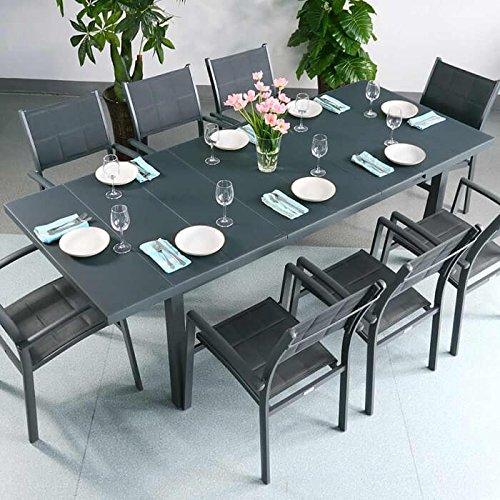 Table Beatrice et 8 chaises Milly - GRIS | Table extensible 240cm pour l'intérieur et l'extérieur