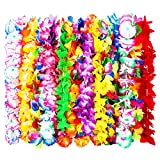 24 Pièces Fleur Hawaï Collier Hawaien pour la Robe, le Collier et la Plage, les Couleurs Assorties