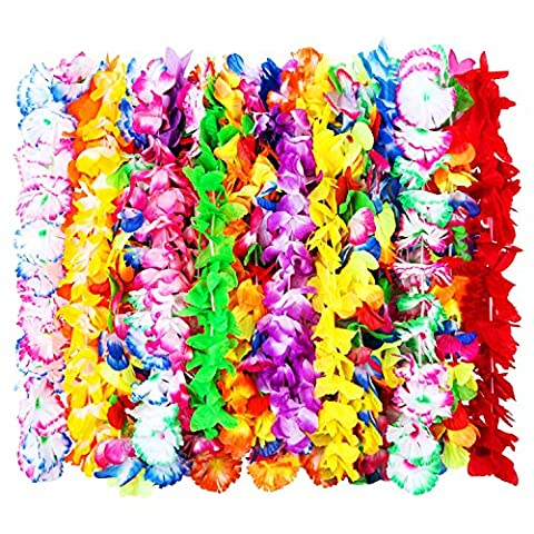 24 Pieces Hawaiian Ruffled Silk Flower Leis Luau Floral Leis for Dress, Party Necklace and Beach, Assorted