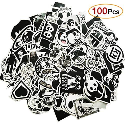Eposeedor 100 Pegatinas Coche, Vinilo Graffiti Stickers Blanco y Negro,...