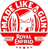 #4: Onlinemart pack of 2 Made like a gun Red STICKER DECAL STICKER for Royal Enfield BULLET/BIKE STICKER (11.5 Cm X 11.5 Cm)